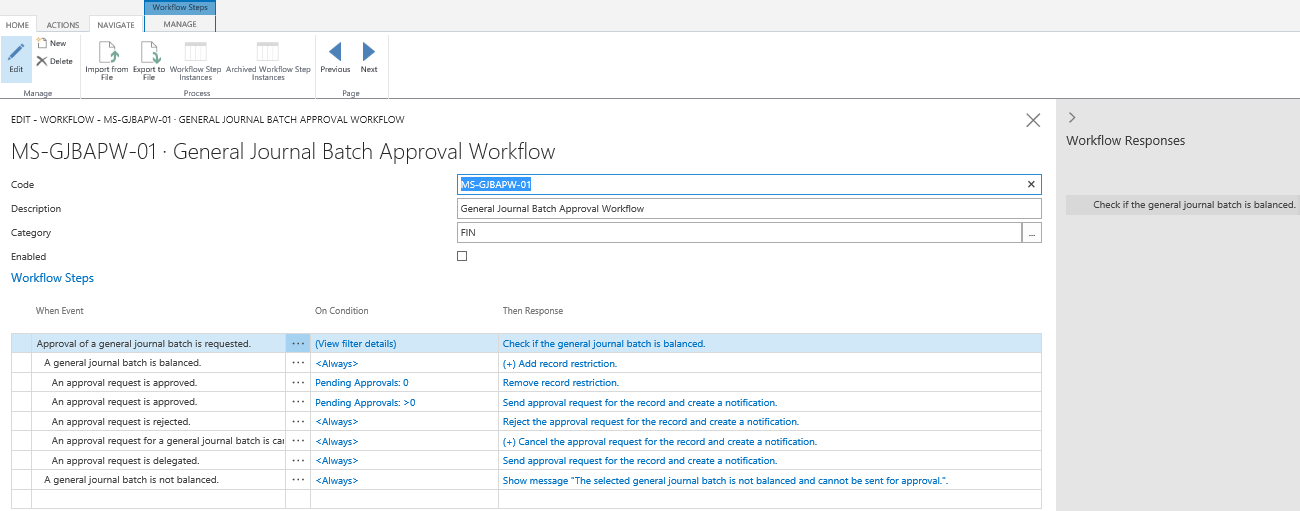 Dynamics 365 for Financials Workflow