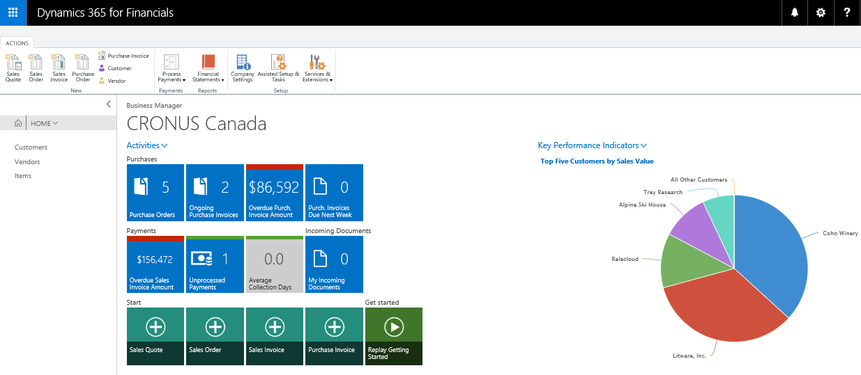 Dynamics 365 for Financials Screenshot